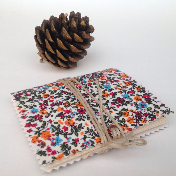 Handmade notebook vintage granny fabric with tiny flowers romantic gift for her
