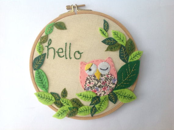 Felt pink owl in wooden frame nursery decor embroidery
